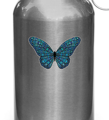 "CLR:WB - Patterned Butterfly - Vinyl Decal for Reusable Water Bottles ©YYDC (3.5""w x 2""h) (COLOR CHOICES)"
