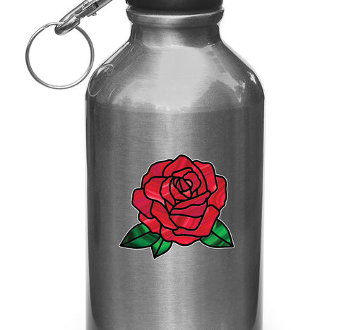 "CLR:WB - Rose Stained Glass -D2- Vinyl Decal for Water Bottle | Vacuum Flask | Cup  - © YYDC (3""w x 2.75""h) (Color Choices)"