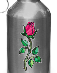 "CLR:WB - Rose - Rosebud on Stem - Stained Glass Vinyl Decal for Water Bottle | Thermos | Helmet | Outdoor Use  - © YYDC (2""w x 4.5""h) (Color Choices)"