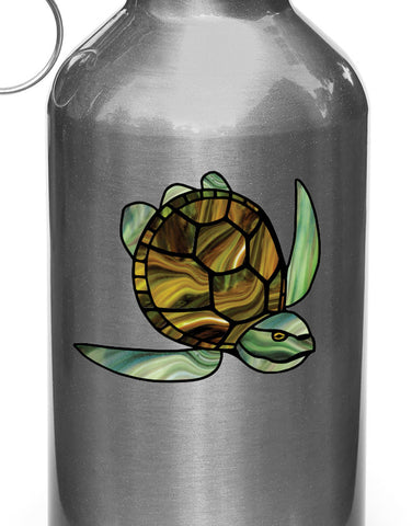"CLR:WB - Honu Sea Turtle - Stained Glass Style Vinyl Decal for Water Bottle | Outdoor Use - ©YYDC (2.75""w x 2.5""h)(Green-Brown)"