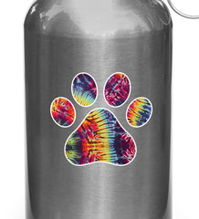 "CLR:WB - Rainbow Tie Dye Dog Pawprint - Paw Print - Vinyl Water Bottle Decal Sticker (3""w x 3""h)"
