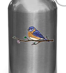 "CLR:WB - Bird - Eastern Bluebird Perched - Stained Glass Style - Opaque - Vinyl Water Bottle Decal ©YYDC (SM 3.5""w x 1.75""h)"