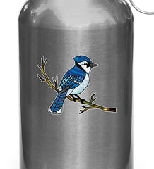 "CLR:WB - Blue Jay Bird Perched on Branch - Stained Glass Style Vinyl Waterbottle Decal ©YYDC (3""w x 2.25""h)"