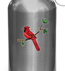 "CLR:WB - Cardinal Bird Perched on Branch - Stained Glass Style Vinyl Waterbottle Decal ©YYDC (2.75""w x 3""h)"