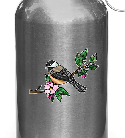 "CLR:WB - Chickadee with Apple Blossom - Bird - Stained Glass Style - Opaque - Vinyl Water Bottle Decal ©YYDC (SM 3""w x 2.5""h)"