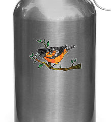 "CLR:WB - Oriole Bird Perched on Branch - Stained Glass Style Opaque Vinyl Waterbottle Decal ©YYDC (MED 3.2""w x 2""h)"