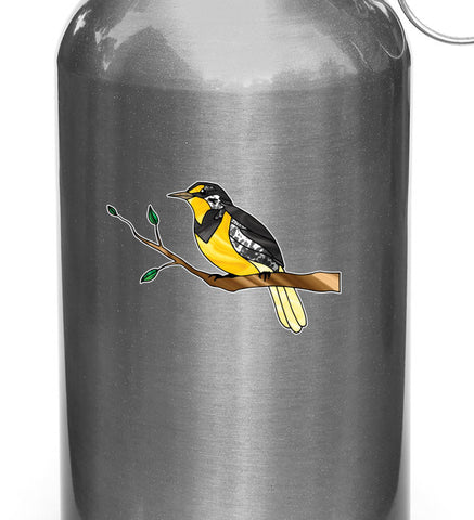 "CLR:WB - Western Meadowlark Bird on Branch - Stained Glass Style - Opaque Vinyl Waterbottle Decal ©YYDC (3.75""w x 2.75""h)"