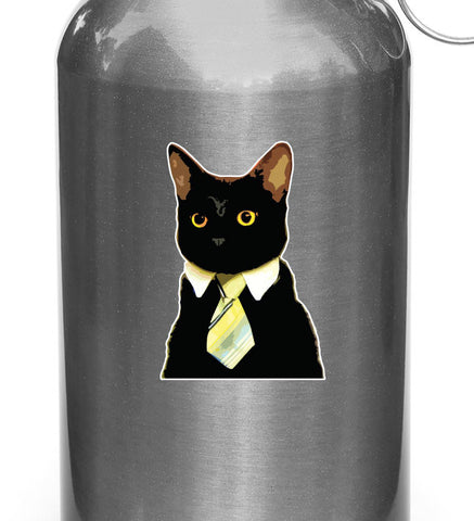 "CLR:WB -  Corporate Cat Wearing Tie - Vinyl Water Bottle Decal - Copyright 2014 © YYDC (2""w x 3""h)"