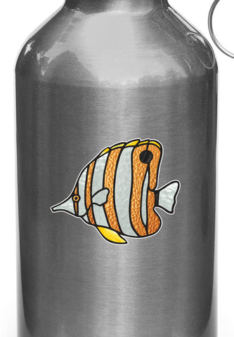 CLR:WB - Tropical Fish - Copperband Butterflyfish - Stained Glass Style Opaque Vinyl Waterbottle Decal ©2018 YYDC (SIZE CHOICES)