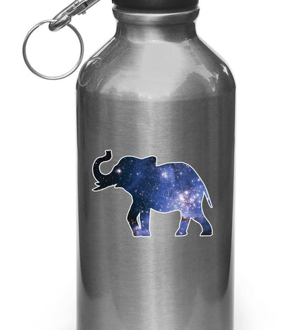 "CLR:WB - Cosmic Elephant - Galaxy Star - Vinyl Decal for Water Bottles or Cars - Copyright © YYDC (SM 3.5""w x 2.5""h)"