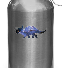 "CLR:WB - Cosmic Triceratops - Galaxy Dinosaur Waterbottle Decal ©YYDC (3""w x 1.5""h)"