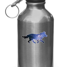 "CLR:WB - Cosmic Wolf- Vinyl Decal for Water Bottles | Vacuum Flasks| Cups © YYDC (3.5""w x 1.75""h)"