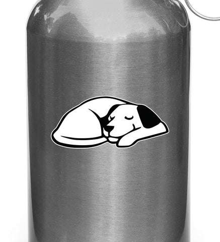 "CLR:WB - Dog Dreaming - Sleeping Smiling Dog - Vinyl Decal for Reusable Water Bottle - Copyright © YYDCo. (SMALL 3.5""w x 1.5""h)"