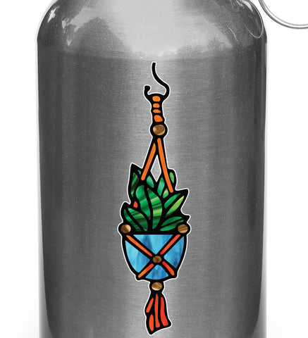 "CLR:WB - Hanging Succulent Plant - D1 - Stained Glass Style Vinyl Decal for Reusable Water Bottle - Copyright 2017 © YYDC (1""w x 3.75""h)(SM)"