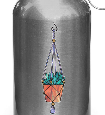 "CLR:WB - Hanging Succulent Plant - D2 - Stained Glass Style Vinyl Decal for Reusable Water Bottle - Copyright 2017 © YYDC (1""w x 3.75""h)(SM)"