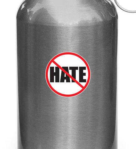 "CLR:WB - No Hate! Stop hate - Anti-Hate - Vinyl Reusable Water Bottle Decal Sticker - © YYDC (3"" diameter)"
