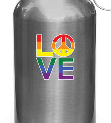 "CLR:GAS - Love Sculpture Peace Sign - Pride Rainbow - Vinyl Car Decal - ©Yadda-Yadda Design Co. (2.5""w x 3""h)"