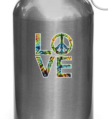 "CLR:GAS - Love Sculpture Peace Sign in Rainbow Tie Dye - Vinyl Car Decal - ©Yadda-Yadda Design Co. (2.5""w x 3""h)"
