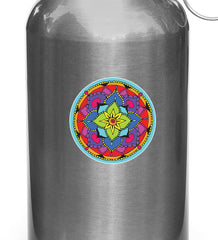 CLR:WB - Floral Mandala -  Vinyl Decal for Reusable Water Bottle - © 2016 YYDC (3 inch dia.)(Color Choices)