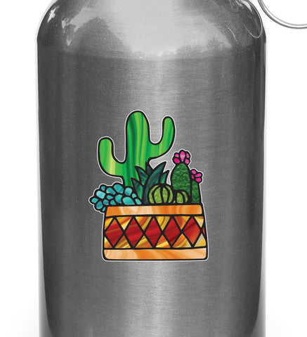 "CLR:WB - Potted Cactus Succulent Plants - D3 - Stained Glass Style Vinyl Decal for Reusable Water Bottle - Copyright 2017 © YYDC (3""w x 3.75""h)(SM)"