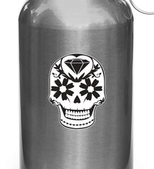 "CLR:WB - Sugar Skull with Diamond and Daisies - Day of the Dead - Día de los Muertos - Vinyl Water Bottle Decal - ©YYDC (2""w x 2.75""h)"