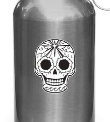 "CLR:WB - Sugar Skull with Star, Waves, Morning Glories - Day of the Dead - Día de los Muertos - Vinyl Water Bottle Decal - ©YYDC (2""w x 2.75""h)"