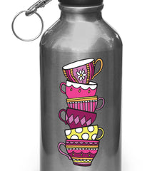 "CLR:WB - Teacups - Tea Party - Tea Cup - Vinyl Water Bottle Decal ©YYDC (3""w x 7""h) (Color Choices)"