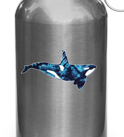 "CLR:WB - Tie-Dye Orca - Killer Whale - Vinyl Decal for Reusable Water Bottle ©YYDC (4""w x 2""h)"