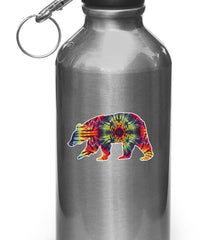 "CLR:WB - Rainbow Tie Dye Bear - Design 1 - Vinyl Decal for Water Bottles | Vacuum Flasks| Cups © YYDC (3.5""w x 2""h)"