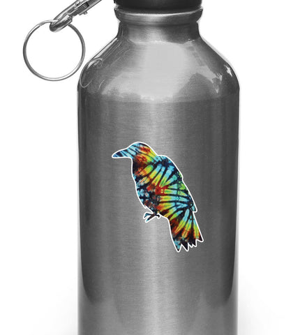 "CLR:WB - Rainbow Tie Dye Crow - Vinyl Decal for Water Bottles | Vacuum Flasks| Cups © YYDC (2.75""w x 2.25""h)"