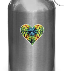 "CLR:WB - Rainbow Tie Dye Heart - Hippie Love - Vinyl Water Bottle Decal Sticker Copyright YYDCo. (2.25""w x 2""h)"