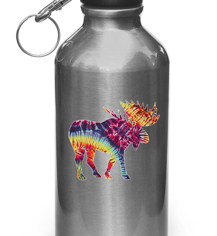 "CLR:WB - Rainbow Tie Dye Moose - Vinyl Decal for Water Bottles | Vacuum Flasks| Cups © YYDC (3.25""w x 3""h)"