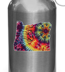 "CLR:WB - State of Oregon Rainbow Tie Dye - Vinyl Water Bottle Decal © YYDCo. (4""w x 3""h)"