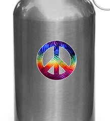 "CLR:WB - Rainbow Tie-Dye Peace Sign - Vinyl Water Bottle Decal - © YYDC. (3"" Diameter)"