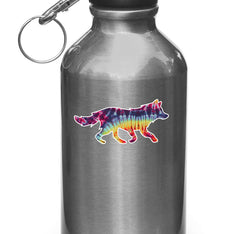 "CLR:WB - Rainbow Tie Dye Wolf - Vinyl Decal for Water Bottles | Vacuum Flasks| Cups © YYDC (3.5""w x 1.75""h)"