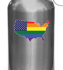 "CLR:WB - United States Map Pride Flag - Rainbow U.S.A. - Vinyl Water Bottle Decal - © 2016 Yadda-Yadda Design Co. (3.5""w x 2""h)"