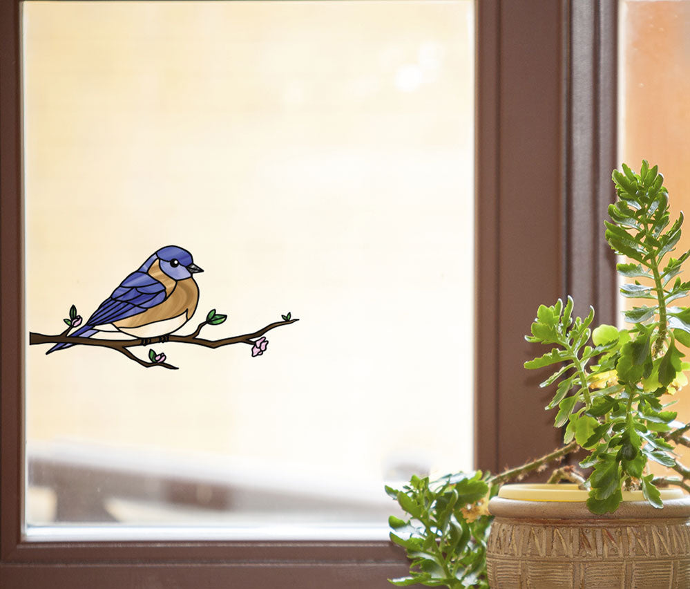 Clrwnd bird eastern bluebird perched stained glass style vinyl decal for