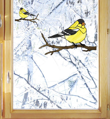 CLR:WND - Bird - Goldfinch Perched - Stained Glass Style Vinyl Decal for Windows ©YYDC (Size Choices)