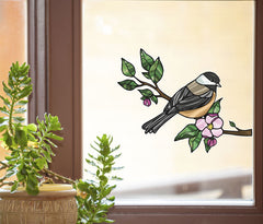 CLR:WND - Bird - Chickadee w Apple Blossoms - Stained Glass Style Vinyl Decal for Windows ©YYDC (Size Choices)