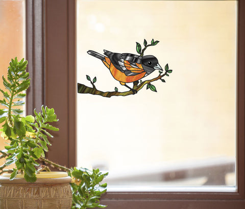 CLR:WND - Oriole Bird Perched on Branch - Stained Glass Style See-Through Vinyl Window Decal ©YYDC (SIZE CHOICES)
