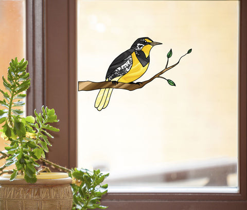 CLR:WND - Western Meadowlark Bird on Branch - Stained Glass Style See-Through Vinyl Window Decal ©YYDC (SIZE CHOICES)