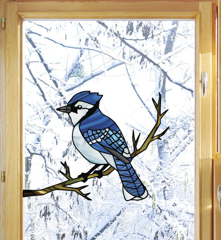 WND-102 - Blue Jay Bird Perched on Branch - Stained Glass Style Vinyl Decal for Windows ©YYDC CLR:WND