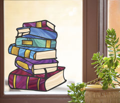 CLR:WND - Books - Stack of Books - Stained Glass Style - See-Through Vinyl Window Decal ©YYDC (SIZE CHOICES)