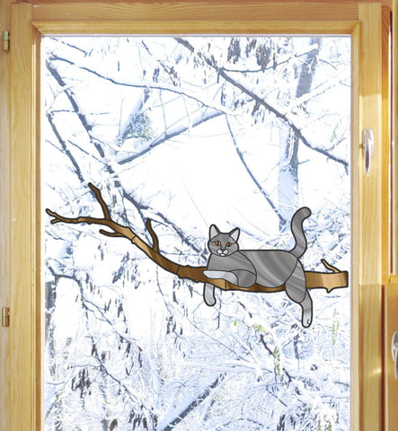 "CLR:WND - Grey Charming Cat on Branch - Stained Glass Style Vinyl Window Decal © YYDC (8.5""w x 4""h)"