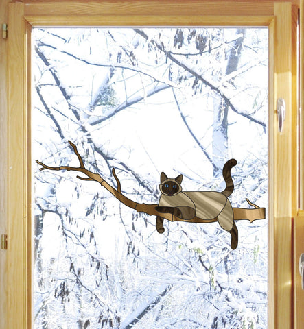 "CLR:WND - Siamese Charming Cat on Branch - Stained Glass Style - Vinyl Window Decal © YYDC (8.5""w x 4""h)"