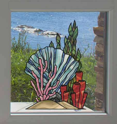 CLR:WND - Tropical Reef - Coral Cluster D1 - Shell - Seaweed - Fan - Tube - Stained Glass Style See-Through Vinyl Window Decal ©2018 YYDC (SIZE CHOICES)