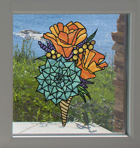 CLR:WND - Poppy Bouquet - California Poppy - Succulent - Stained Glass Style - See-Through Vinyl Window Decal © YYDC (SIZE CHOICE)