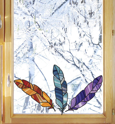 CLR:WND - Stained Glass Feather - Bird Feathers - See-Through Vinyl Window Decal (VARIATIONS AVAILABLE)