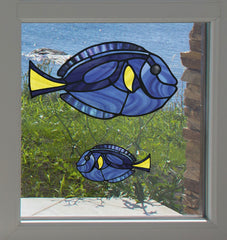 CLR:WND - Tropical Fish - Blue Tang - Palette Surgeonfish - Stained Glass Style See-Through Vinyl Window Decal ©2018 YYDC (SIZE CHOICES)