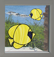 CLR:WND - Tropical Fish - Bluecheek Butterflyfish - Stained Glass Style See-Through Vinyl Window Decal ©2018 YYDC (SIZE CHOICES)